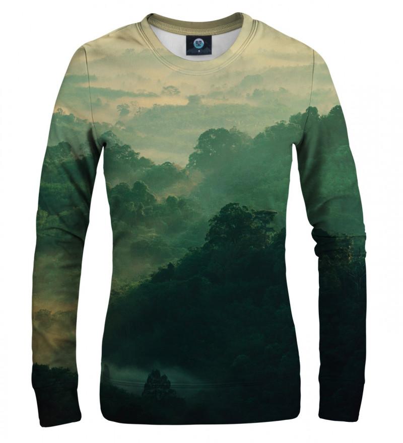 green sweatshirt with forest motive
