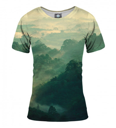 green tshirt with forest motive