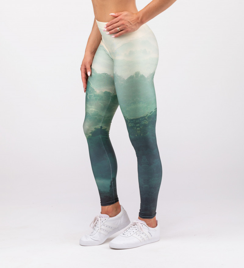 green leggings with forest motive