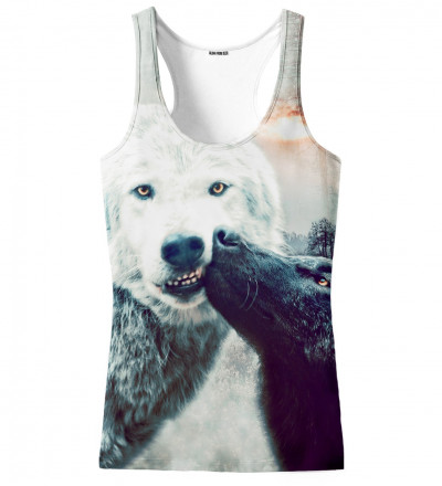 tank top with kissing wolfies motive