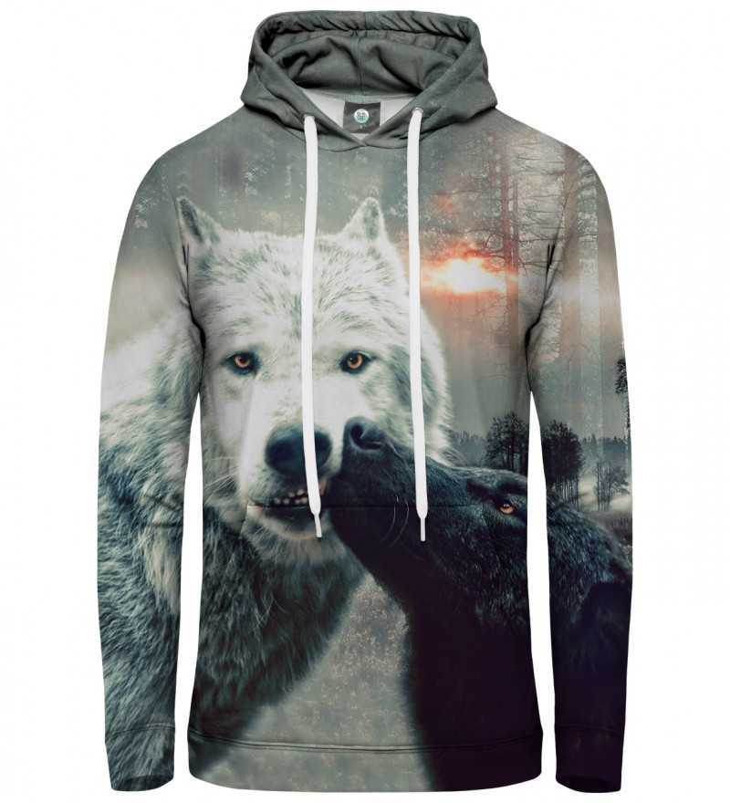 hoodie with kissing wolf