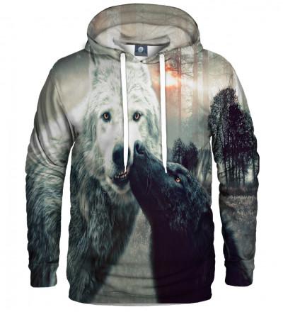 bluza z kapturem z motywem całujących się wilków