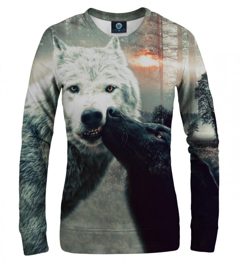 sweatshirt with kissing wolfies motive