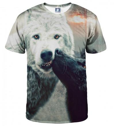 koszulka z motywem całujących się wilków