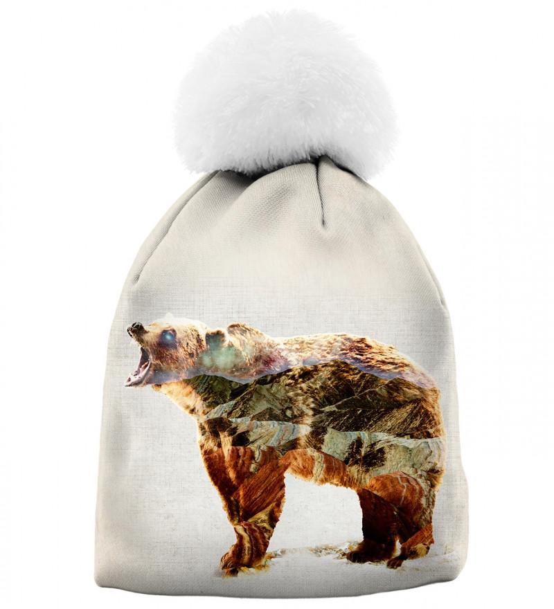 printowana czapka z motywem niedźwiedzia