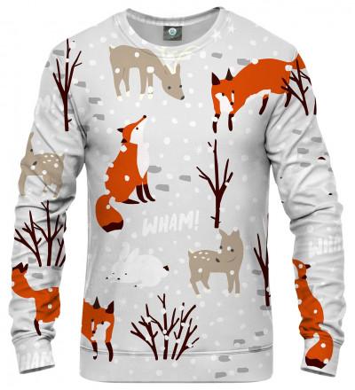 bluza z motywem śniegu, lisa i innych zwierząt