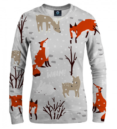 women sweatshirt with snow, fox and animals motive