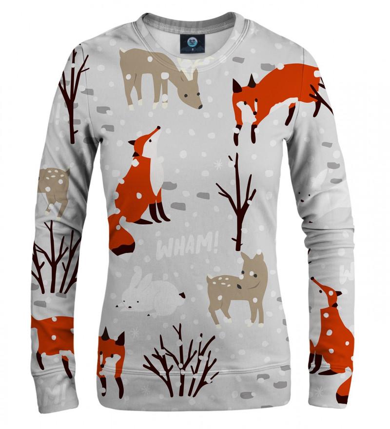 damska bluza z motywem śniegu, lisa i innych zwierząt