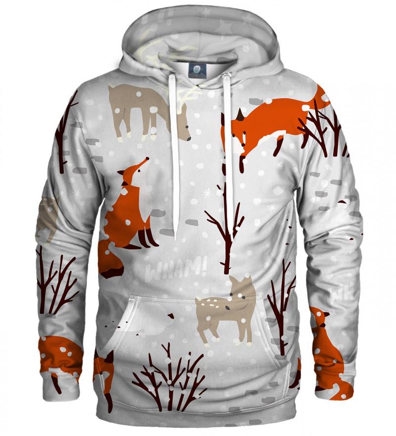 bluza z kapturem z motywem śniegu, lisa i innych zwierząt