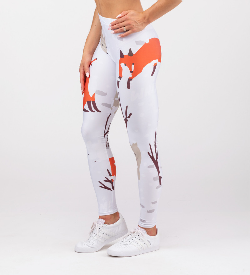 leggings with snow, fox and animals motive