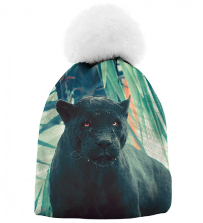 printed beanie with black cougar motive