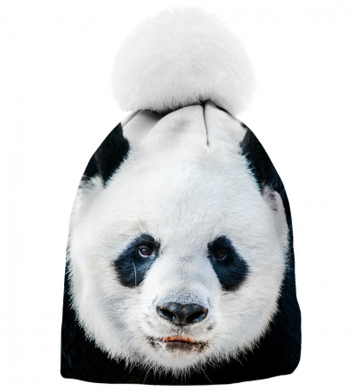 printed beanie with panda motive