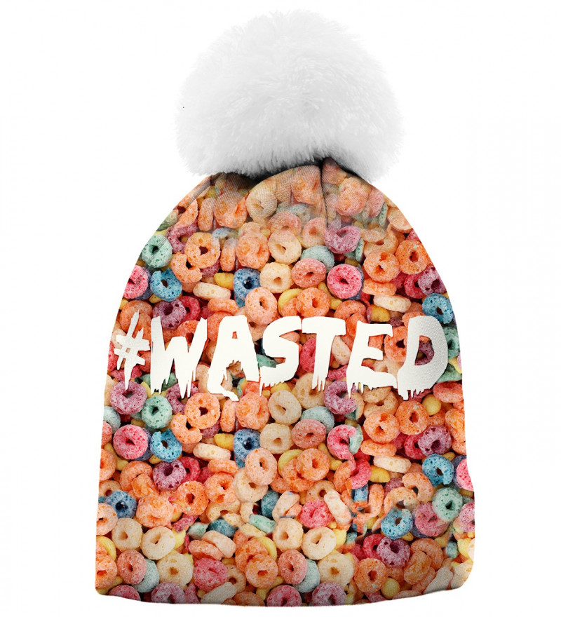 beanie with colorful cereals and wasted inscription