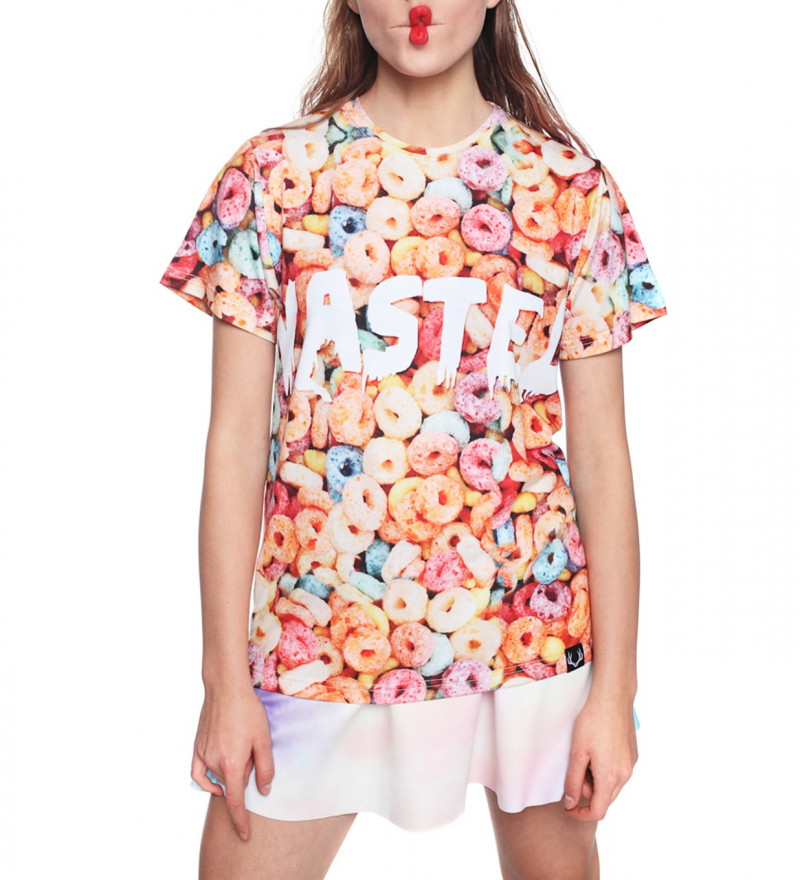tshirt with colorful cereal and wasted inscription