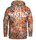 hoodie with colorful cereals and wasted inscriptions
