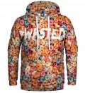 bluza z kapturem z motywem kolorowych płatków i napisem wasted