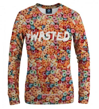 bluza z motywem kolorowych płatków i napisem wasted
