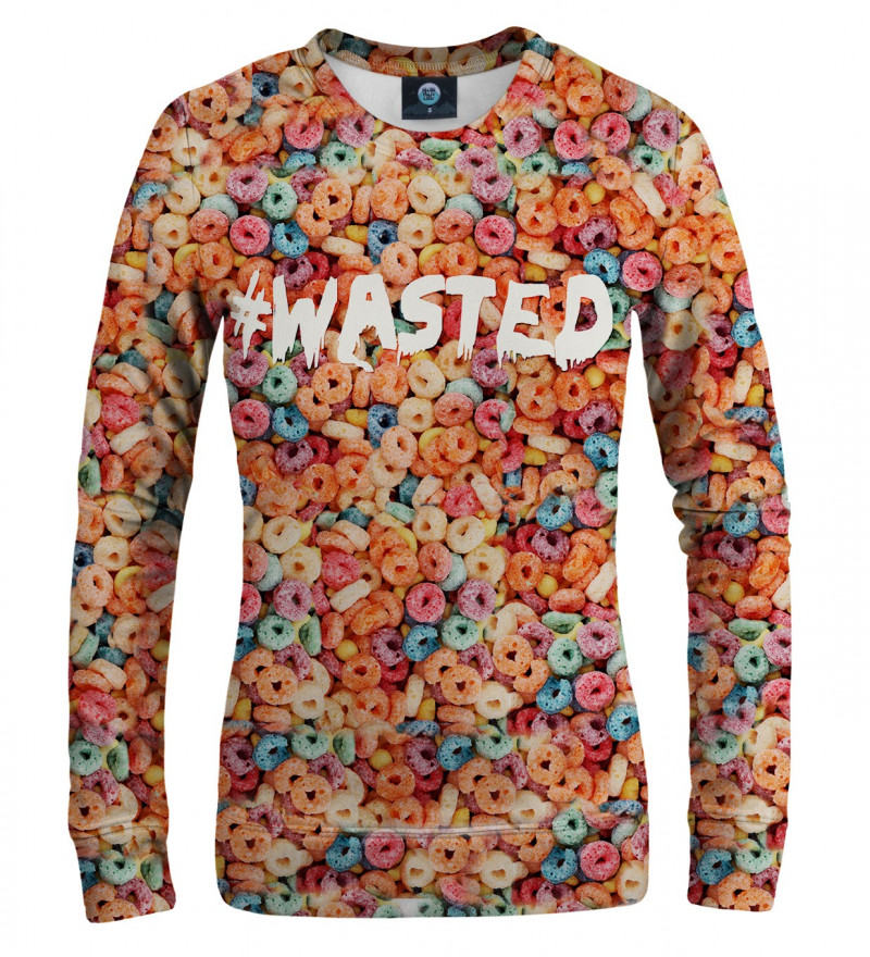 sweatshirt with colorful cereals and wasted motive