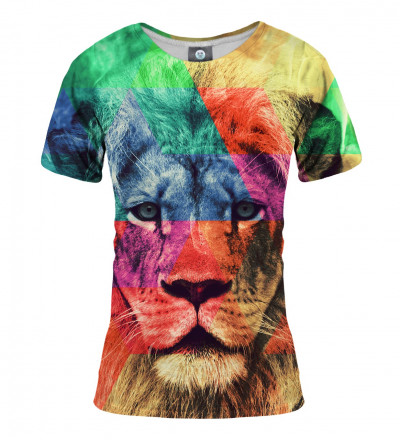 women tshirt with colorful lionel