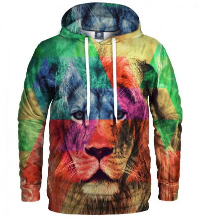 bluza z kapturem z motywem kolorowego lwa