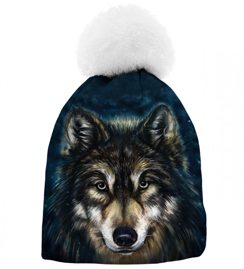 printed beanie with wolf motive