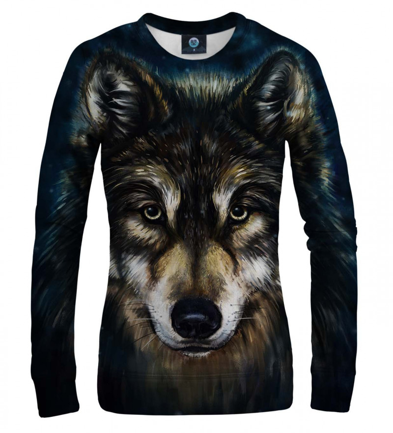 women sweatshirt with wolf motive