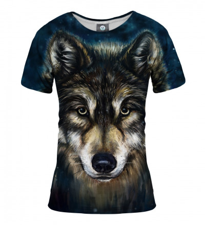 women tshirt with wolf motive
