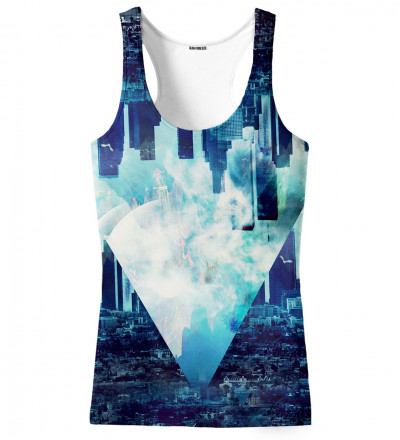 blue tank top with city motive