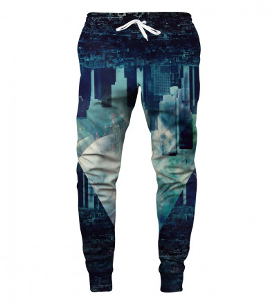 blue joggers with city motive