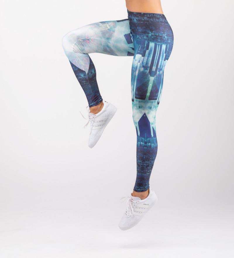 blue leggings with city motive
