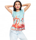women tshirt with flamingos motive