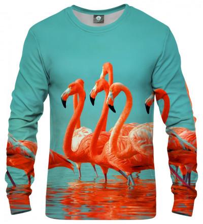 sweatshirt with flamingos motive