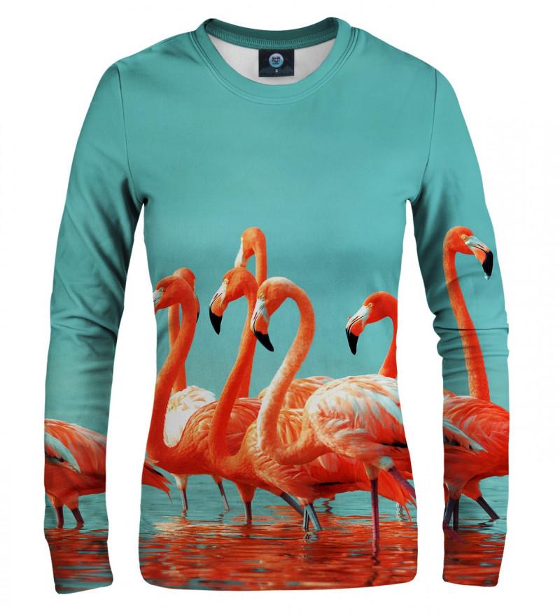 women sweatshirt with flamingos motive