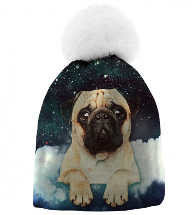 pinted beanie with cute dog and stars