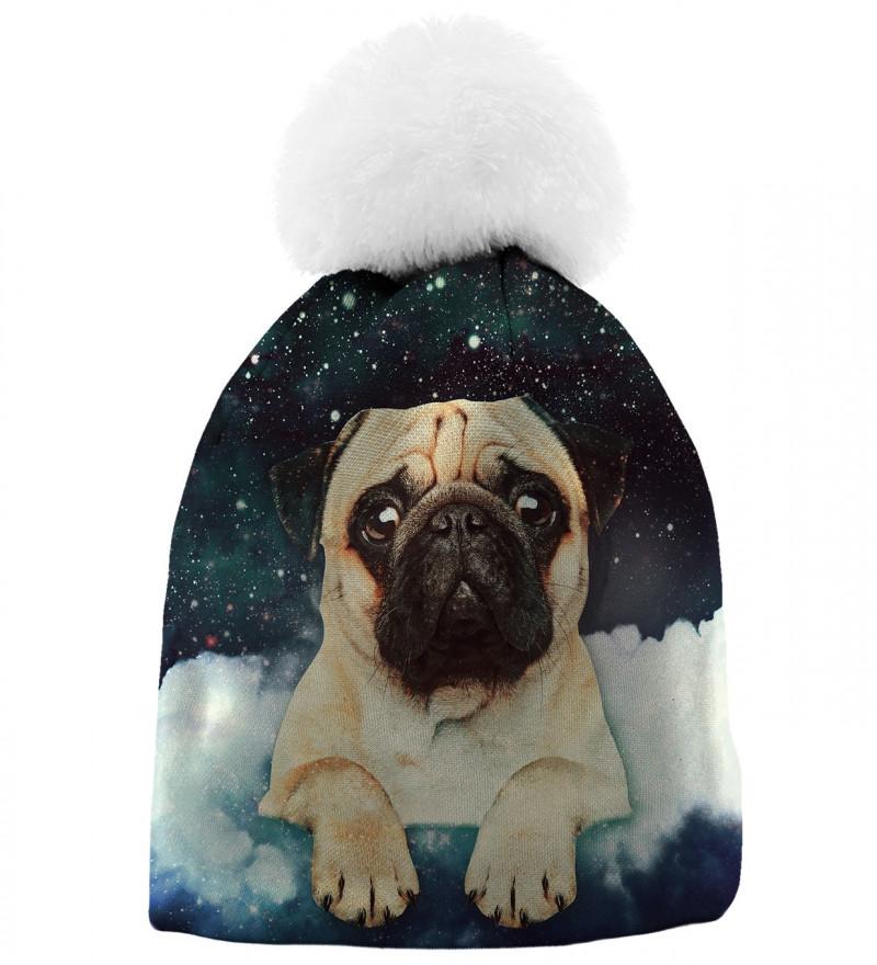 czapka z motywem słodkiego psa i gwiazd