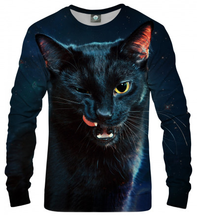 bluza z motywem czarnego kota