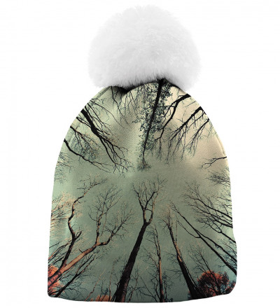 printed beanie with branches motive