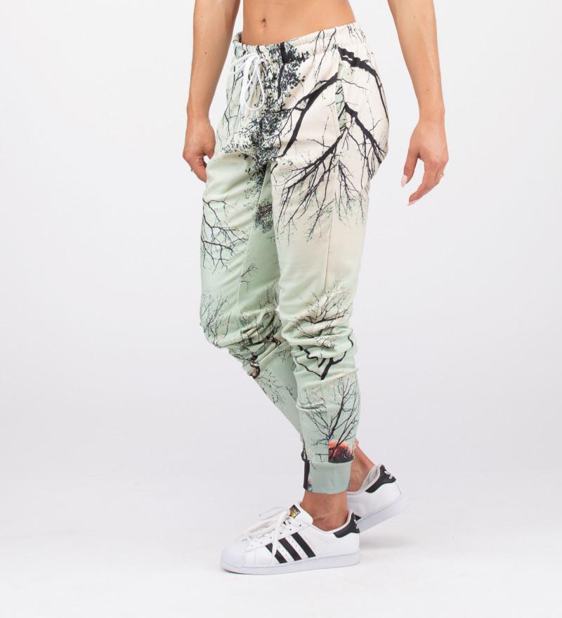 damskie spodnie z motywem gałęzi drzew