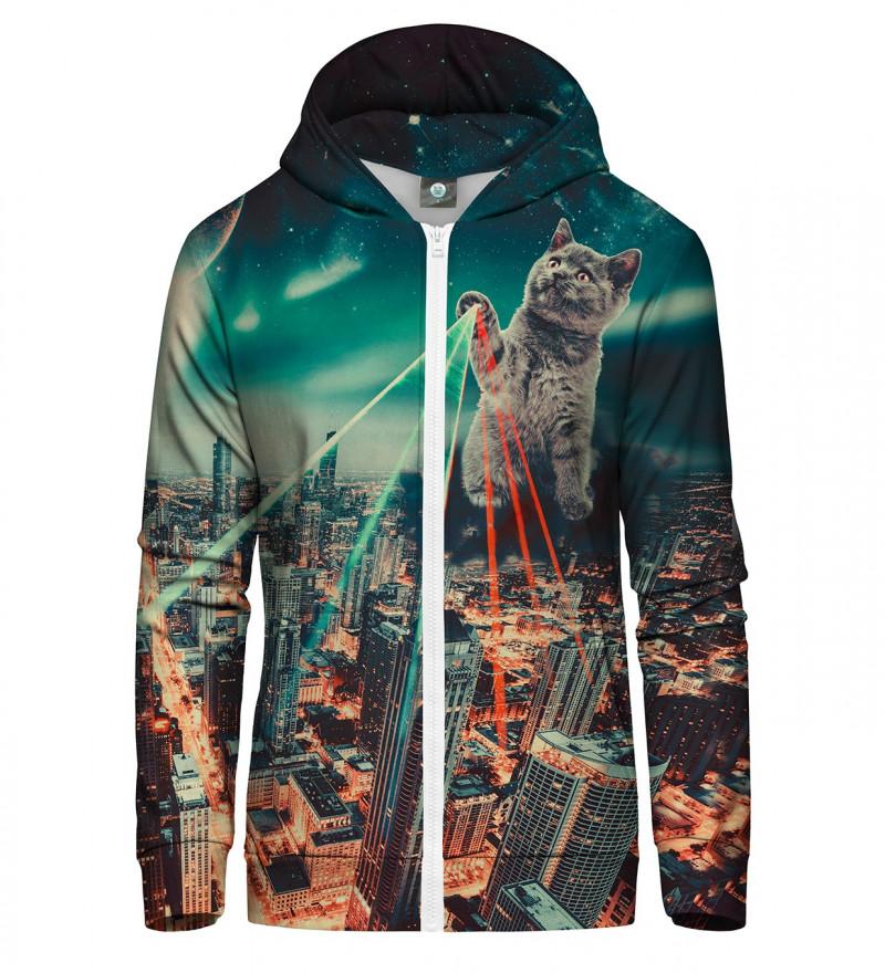 zip up hoodie with evil cat