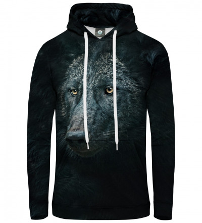 black hoodie with wolf motive