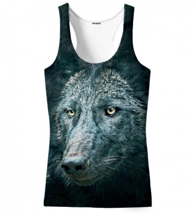 black tank top with wolf motive