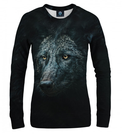 black sweatshirt with wolf motive