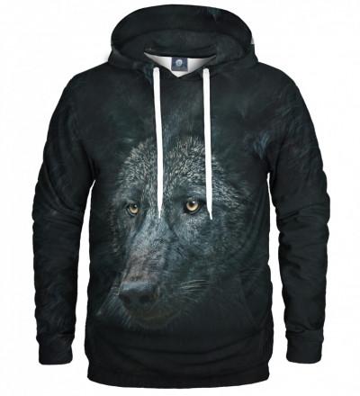 czarna bluza z kapturem z motywem wilka