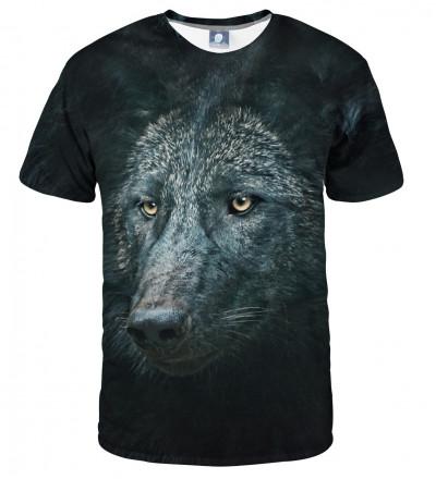 czarna koszulka z motywem wilka