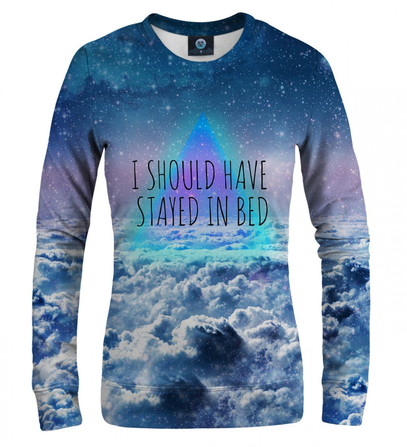"""women sweatshirt with clouds motive and I should have stayed in bed"""" inscription"""