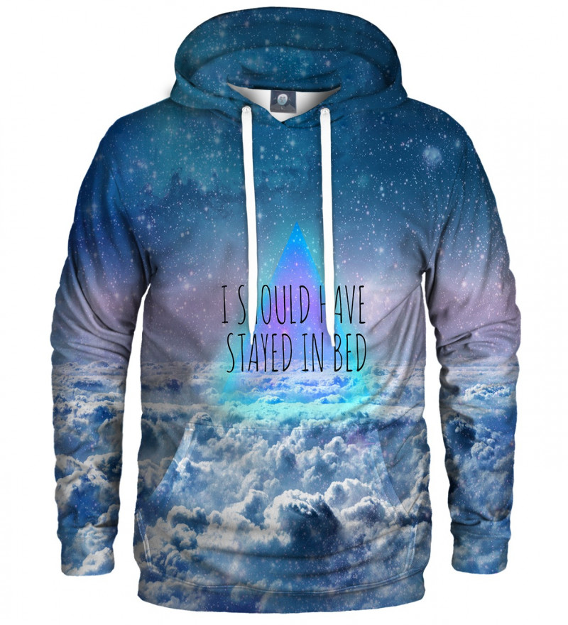 """hoodie with clouds motive and """"I should have stayed in bed"""" inscription"""