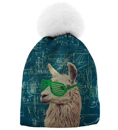 printed beanie with lama motive