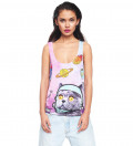 pink tank top with space cat motive