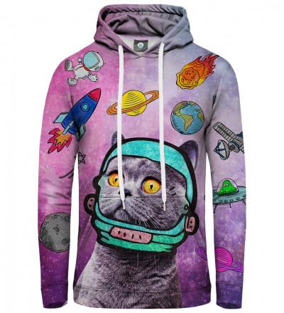 różowa bluza z kapturem z motywem kota w kosmosie