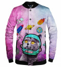 pink baseball jacket with space cat motive